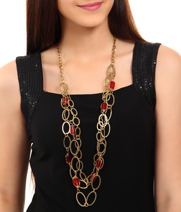 Rhea Oval Golden Red Beads Necklace