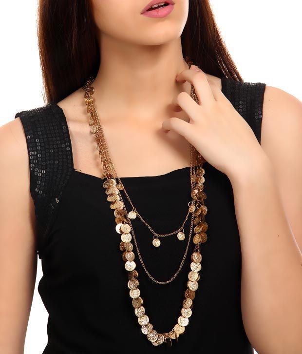 Rhea Golden Flat Coins Necklace