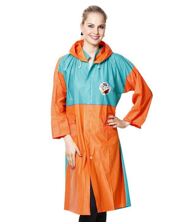 Jorss Orange & Green Large Women Raincoat