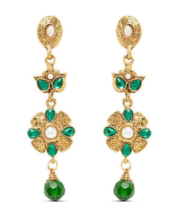 Sia Fine Floral Green Drop Earrings