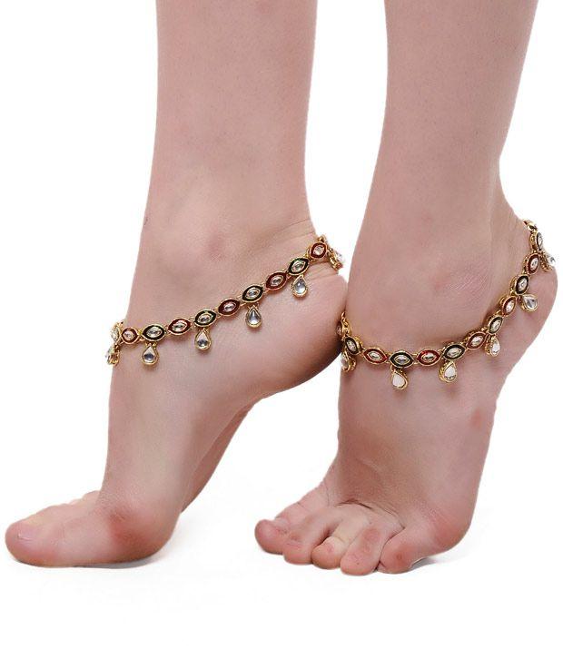 ShinningDiva Pair Of Ethnic Kundan Drop Anklets