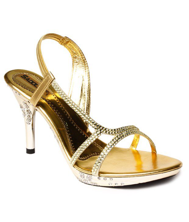 Do Bhai Stylish Golden Pencil Heel Sandals