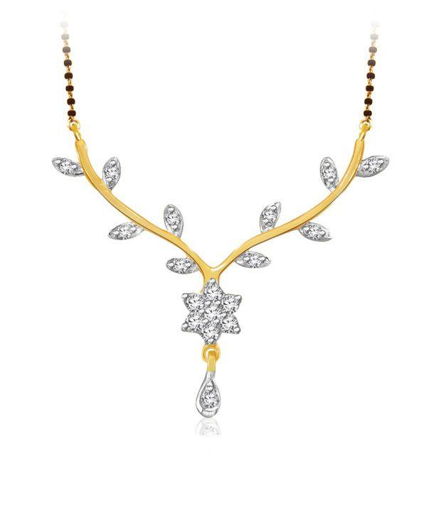 Sparkles 0.11ct. Diamond & 18kt Gold Flower Cluster Mangalsutra