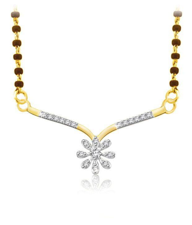 Sparkles 0.10ct. Diamond & 18kt Gold Floral Spark Mangalsutra
