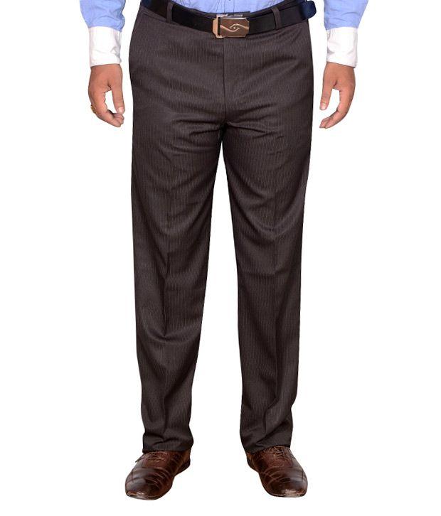 Addiction Brown Regular Fit Poly Viscos Trouser