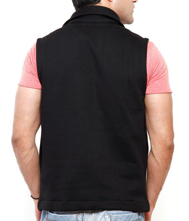 Casual Tees Black Sleeveless Sweatshirt - Buy Casual Tees Black ...