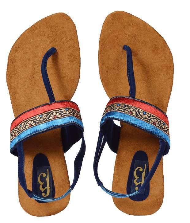 F3 Royal Blue & Red Flat Sandals