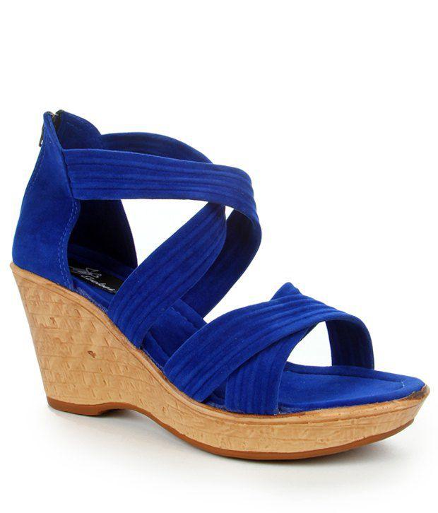 Evetoes Blue Cross Over Wedge Heel Sandals