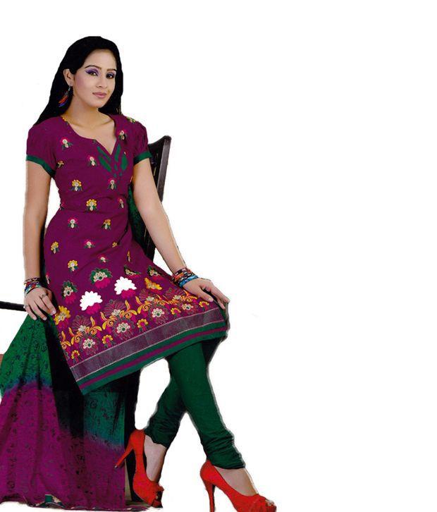 Salwar Studio Pink Cotton Unstitched Dress Material