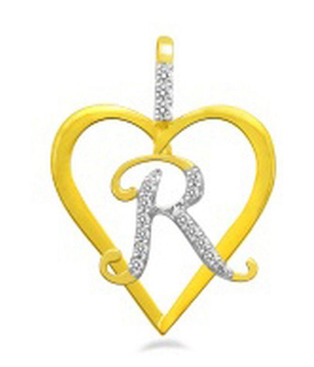 Sparkles 0.08ct. Diamond & 18kt Gold Alphabet `R` Heart ...