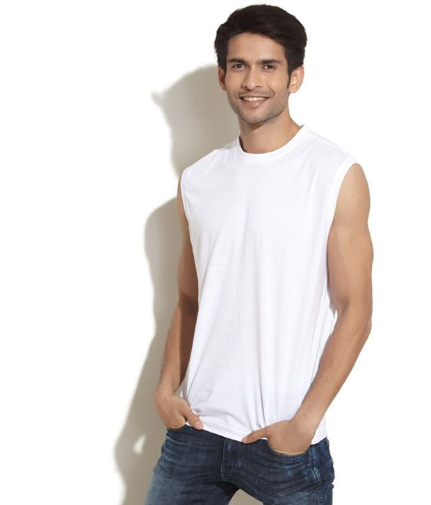 cb8dad12037bed Daiki White Sleeveless T Shirt - Buy Daiki White Sleeveless T Shirt Online  at Low Price - Snapdeal.com