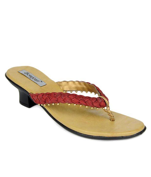 Bonjour Distinct Maroon Slip-on Heels