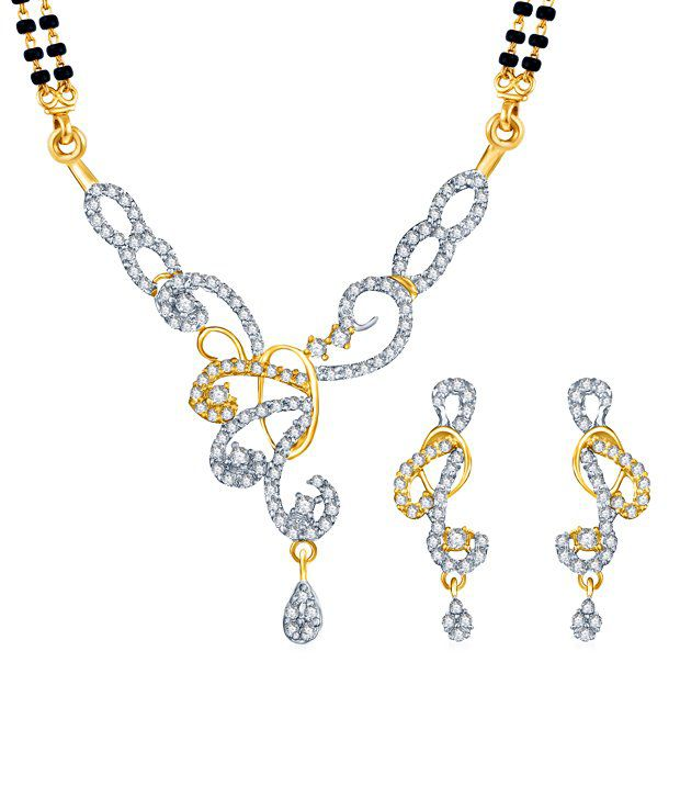 Sukkhi Alluring Gold & Rhodium Plated CZ Mangalsutra Set (Mangalsutra Mala may vary from the actual image)