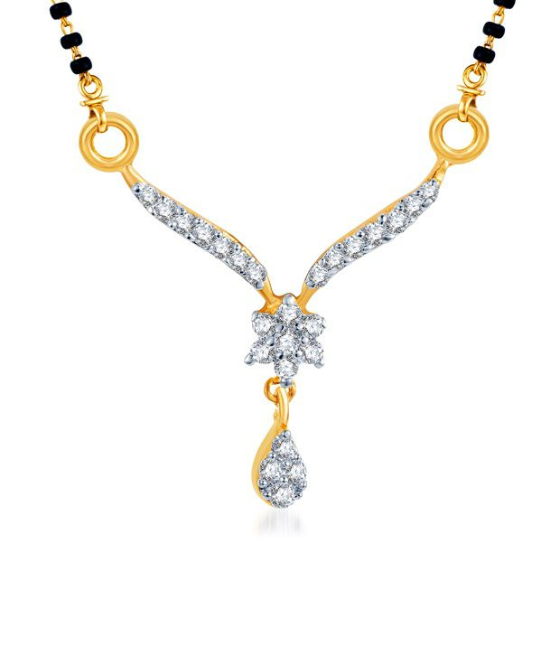 Sukkhi Floral Elegance Gold & Rhodium Plated CZ Mangalsutra (Mangalsutra Mala may vary from the actual image)