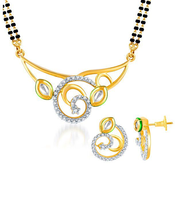 Sukkhi Charming Kundan & CZ Two Tone Mangalsutra Set (Mangalsutra Mala may vary from the actual image)