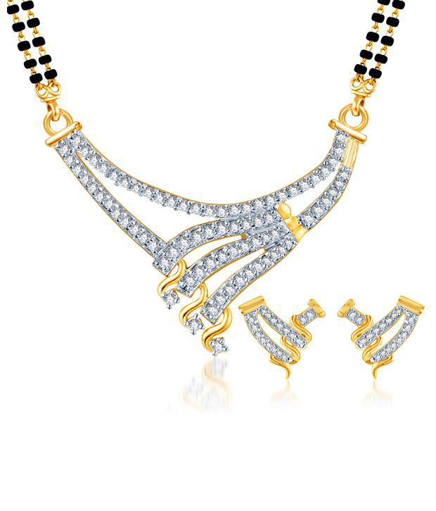 Sukkhi Bewitching Gold & Rhodium Plated CZ Mangalsutra Set (Mangalsutra Mala may vary from the actual image)