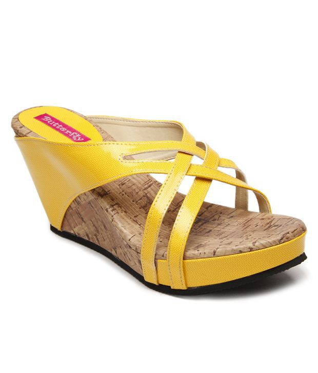 Butterfly Superb Yellow Slip-on Heels