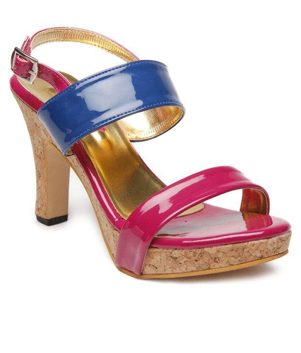 Butterfly Pink & Blue Block Heel Sandals