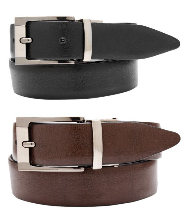 John Ledlie Splendid Black-Brown Formal Reversible Slim Belt