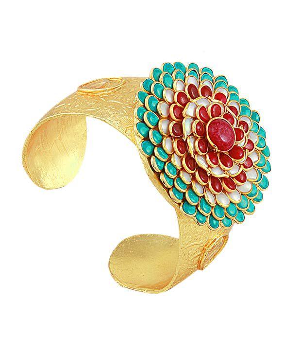 Queenz Desire Floral Red & Green Gold Polished Bracelet