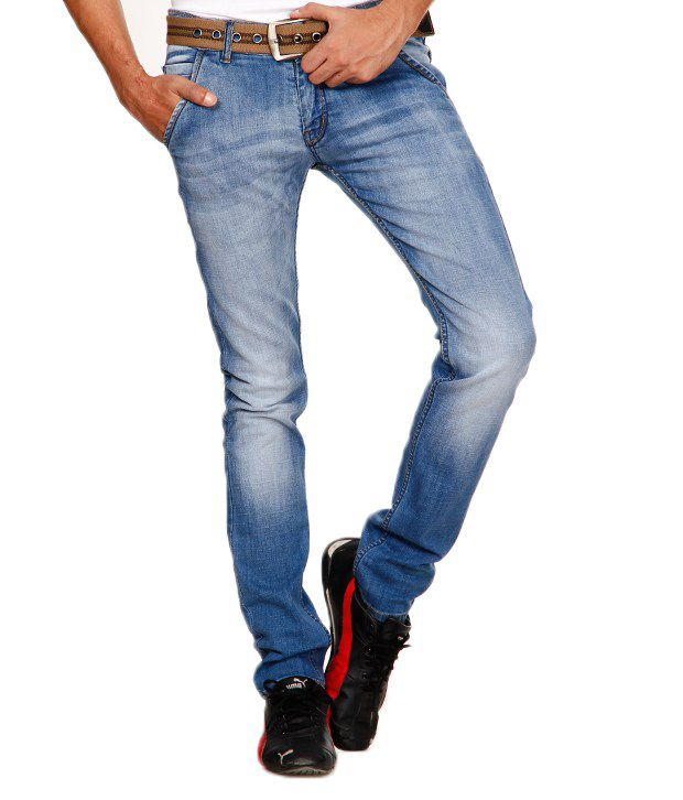 Design Roadies Classy Sky Blue Faded Jeans