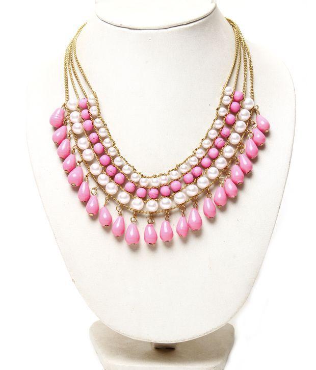 Pari Pink & White Alternate String Necklace
