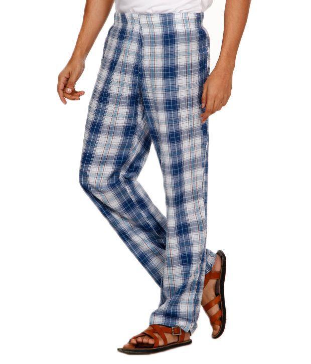 Navyfont Navy Font White-Blue Cotton Pyjama (Multicolor)