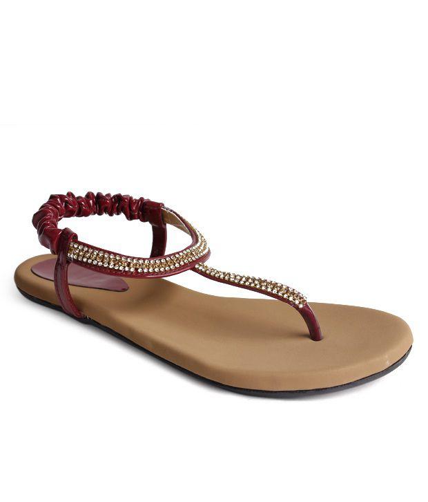 Do Bhai-Shoebazaar Cherry Red Flat Sandals