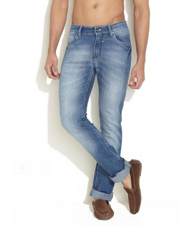 John Players Blue Crease Washed Slim Fit Jeans