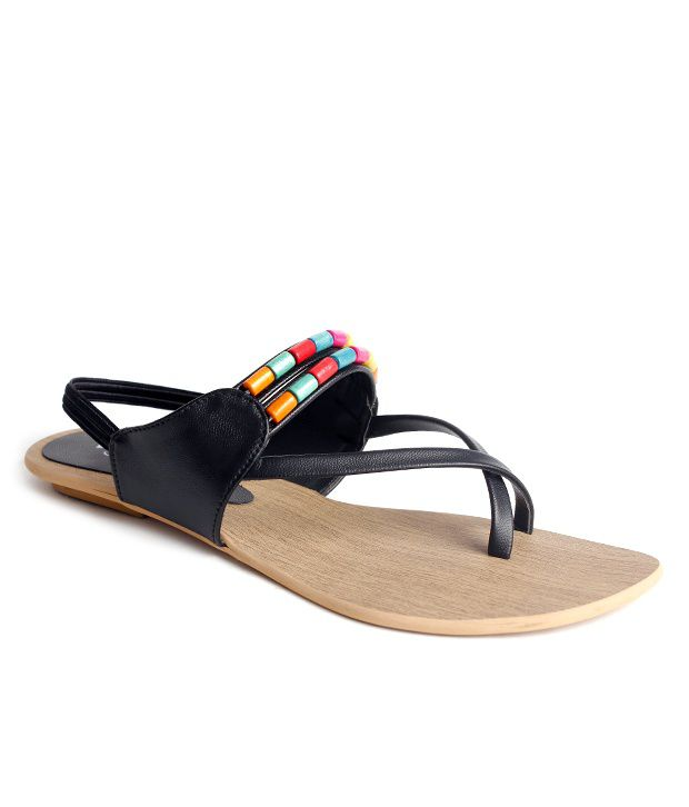 Do Bhai-Shoebazaar Black Flat Sandals