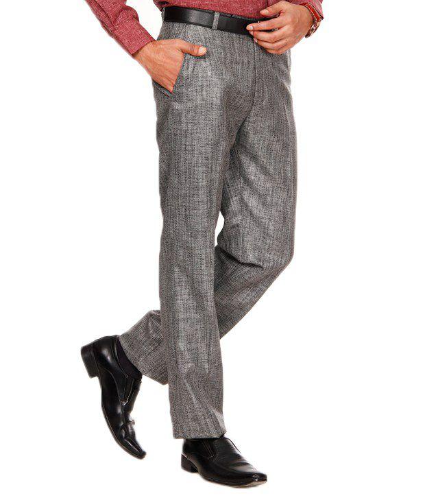 Praado Grey Textured Jute Trouser