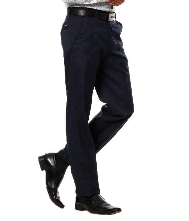 Praado Blue Textured Trouser