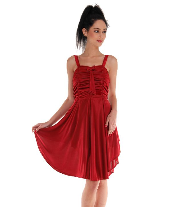 Buy Affair Cotton Nighty & Night Gowns - Maroon Online at Best ...
