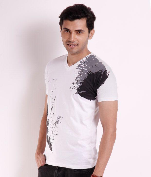 Killer White V-Neck Printed T Shirt