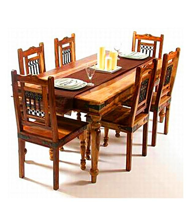 indian hub dining table set with 6 chair buy indian. Black Bedroom Furniture Sets. Home Design Ideas