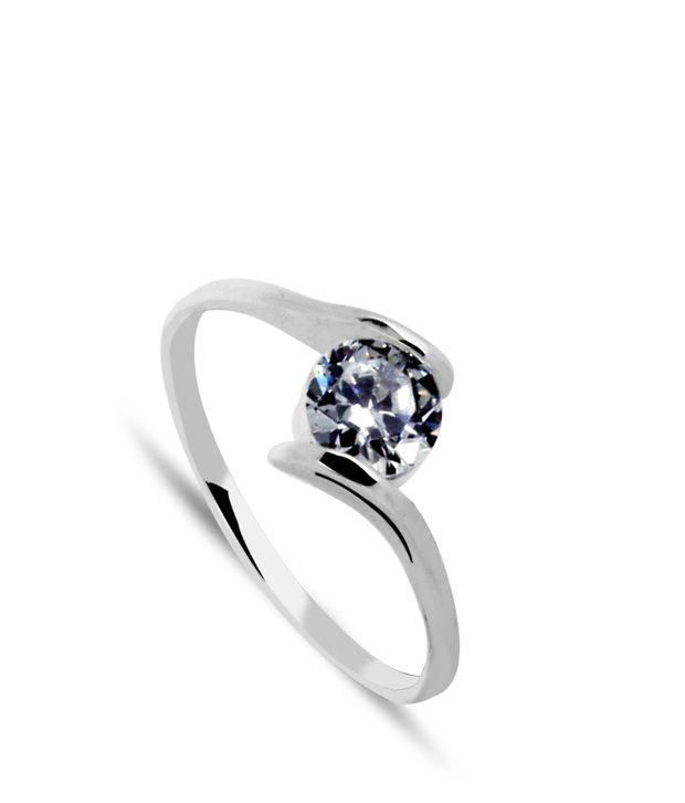 Revlis Silver Saki CZ Solitaire Ring