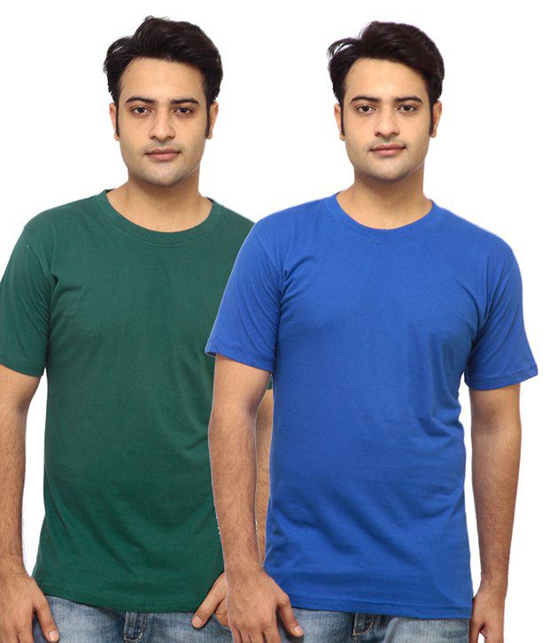 Osia Italia Green-Blue Pack of 2 T Shirts