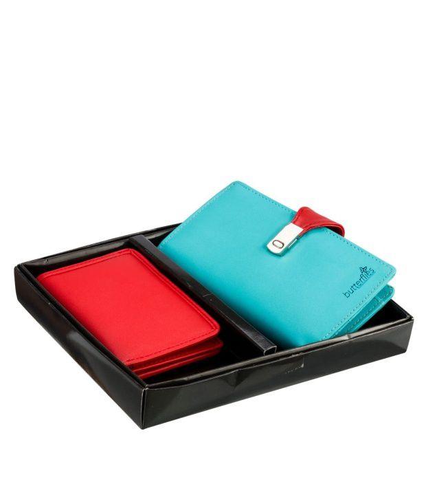 Butterflies Cyan Wallet & Red Card Holder Combo