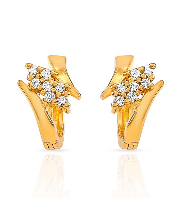 Mahi CZ Collection Gold Plated CZ Stones Stud Earrings For Women ER1108481G