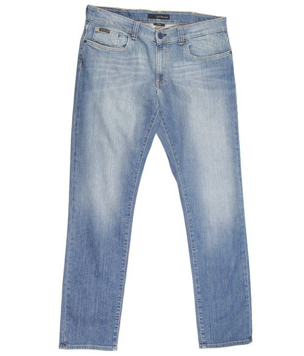 Calvin Klein,Denim Blue Faded Jeans