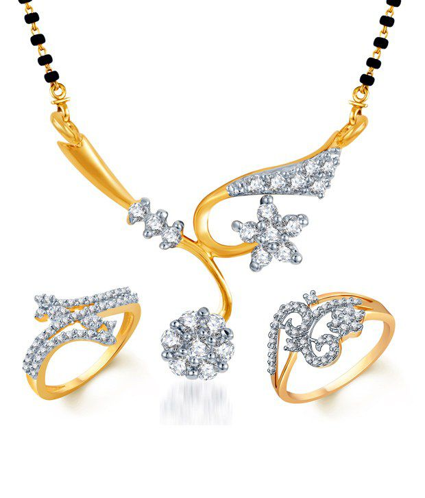 Sukkhi CZ Floral Mangalsutra & Rings Combo (Mangalsutra Mala may vary from the actual image)