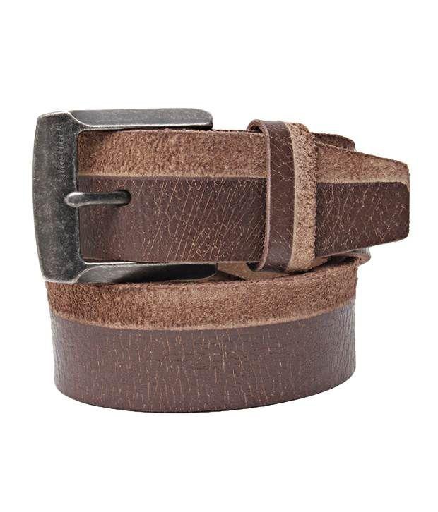 Fastrack Smart Brown Cracked Finish Belt