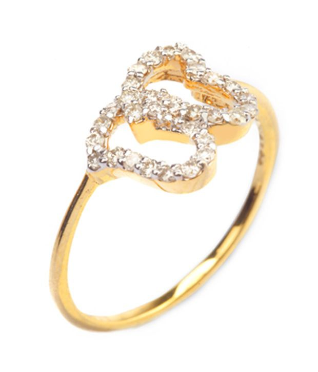 Scintillating 18Kt Gold  & Certified Diamond Pretty Heart Ring