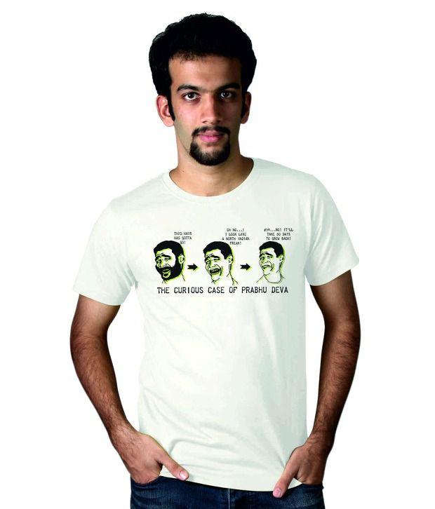 Tantra White Prabhu Deva Round Neck T Shirt
