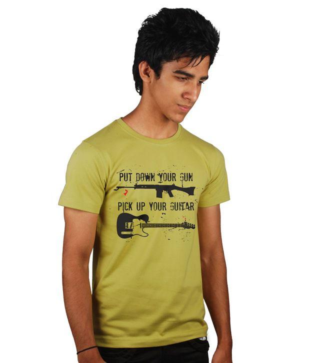Tantra Golden Green Round Neck T Shirt