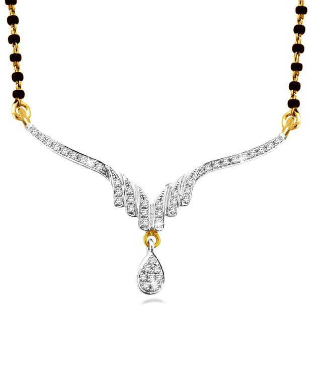 Sparkles 0.11 Cts SI-GH Quality Silver &  Diamonds Mangalsutra