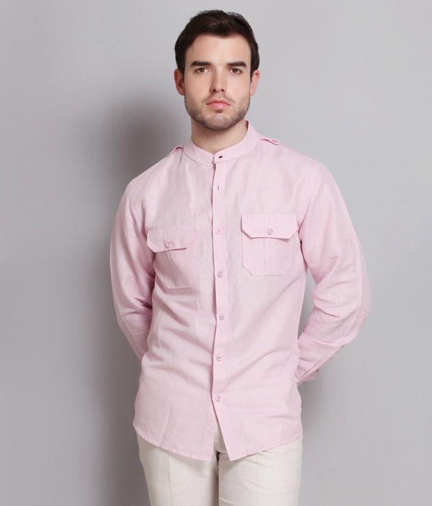 Colormode Pink Linen Shirt With Mandarin Collar - Buy Colormode ...