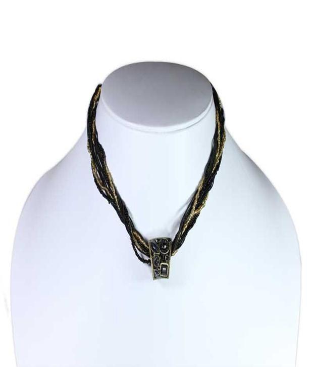 Khoobsurati Metal Small Basket Choker Multiple Bead Black Necklace