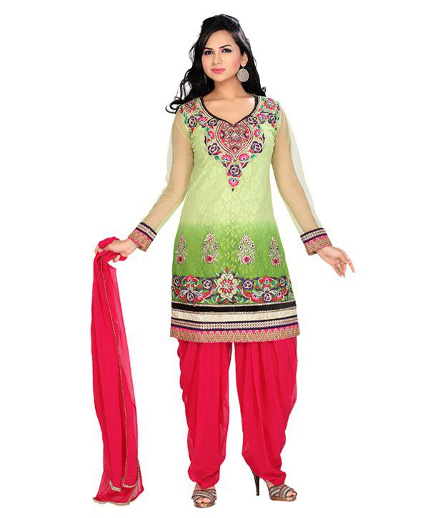 Azva Green-Dark Pink Embroidered Cotton Stitched Salwar Suit