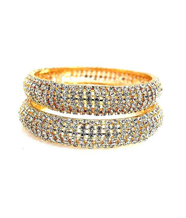 Golden Collections Set of 2 Fancy  Stone Bangless